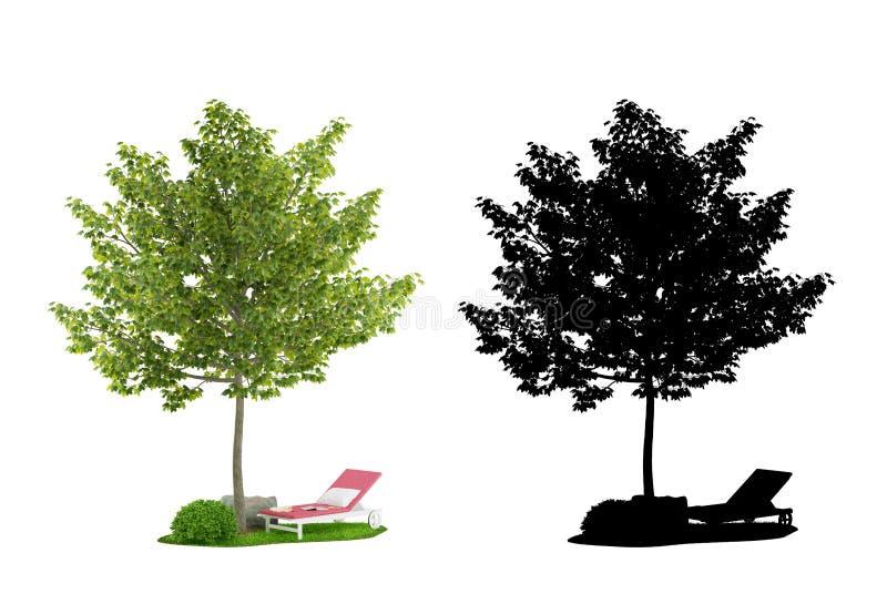 Mapelboom met Steen, Boxwood en Deckstoel stock illustratie