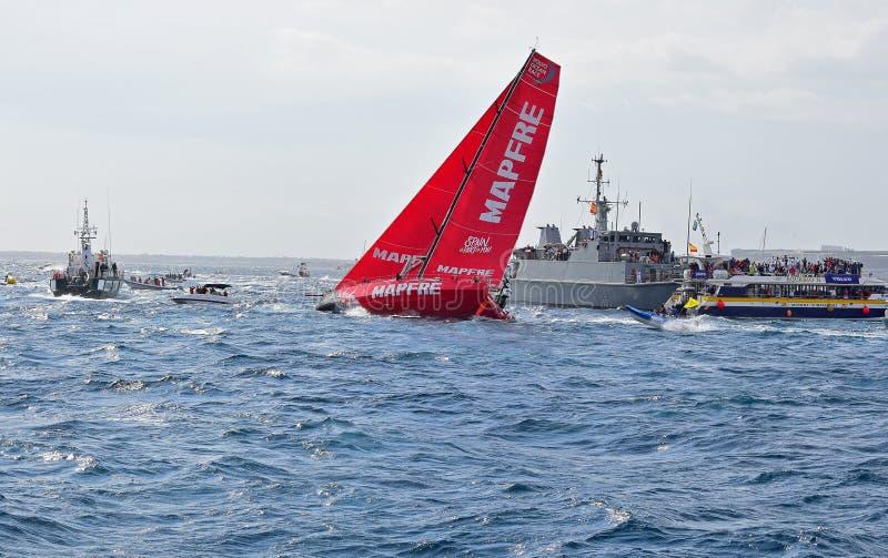 Mapfre Leaning Over Volvo Ocean Race Alicante 2017 stock image