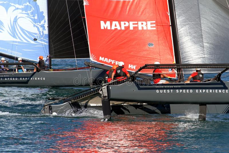 Mapfre Team of ProAM 32 catamarans training. royalty free stock image