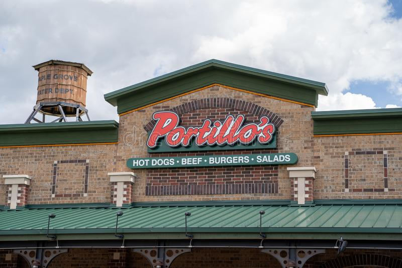 Exterior of a Portillos Hot Dog restaurant, known for their famous Chicago dogs. Close up royalty free stock photography