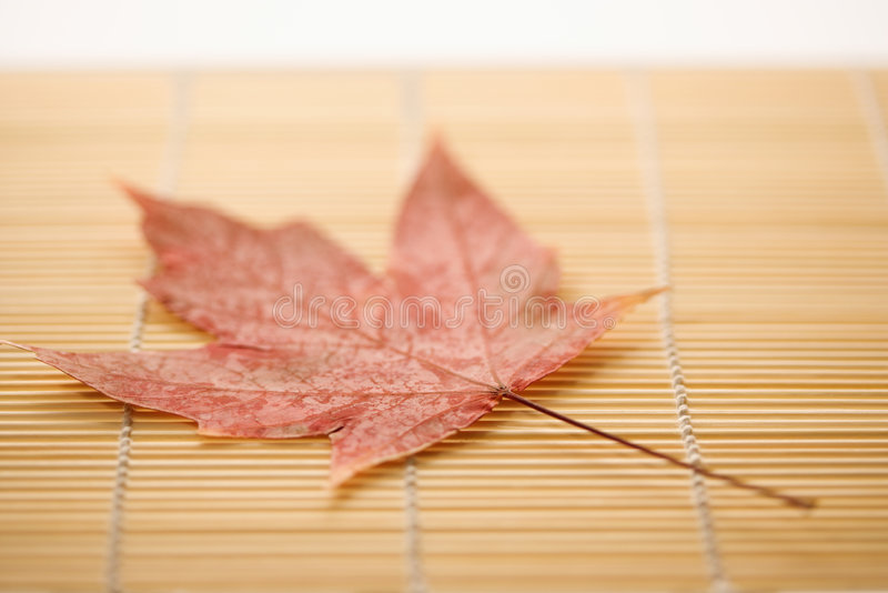 Download Maple leaf on bamboo mat. stock photo. Image of natural - 2052080