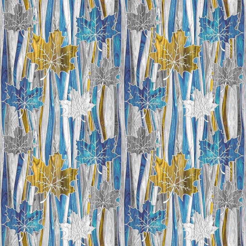 Maple leaf decorative pattern - waves decoration - seamless background 皇族释放例证