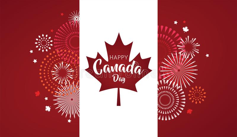 Maple leaf with firework poster for celebrate the national day of Canada. Happy Canada Day card. Canada flag, fireworks vector illustration
