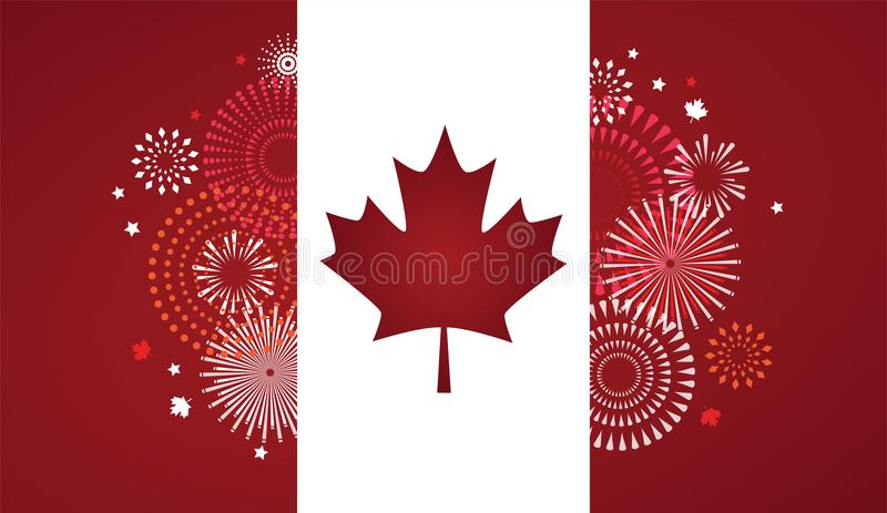 Maple leaf with firework poster for celebrate the national day of Canada. Happy Canada Day card. Canada flag, fireworks stock illustration