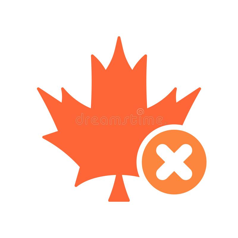 Maple leaf icon, Nature leaves icon with cancel sign. Maple leaf icon and close, delete, remove symbol. Vector stock illustration
