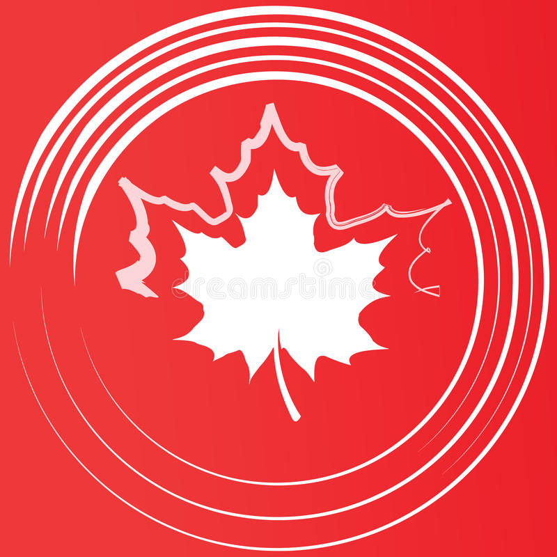 Maple leaf silhouette. Maple leaf silhouette in the circles on red background royalty free illustration