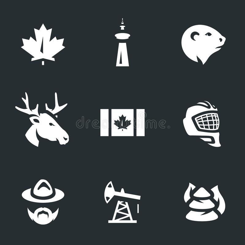 Vector Set of Canada Symbols Icons. royalty free illustration