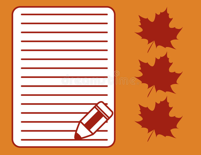 Maple Letter. Illustration of Maple Leaves and Blank Letter with Pencil royalty free illustration