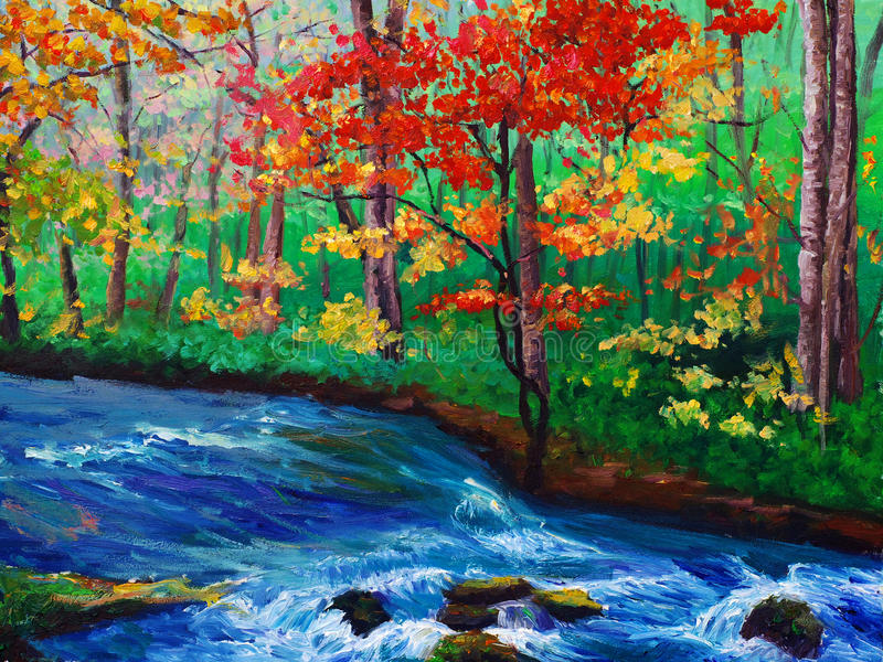 Maple near stream royalty free illustration