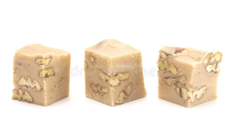 Maple Nut Fudge on a White Background royalty free stock photography