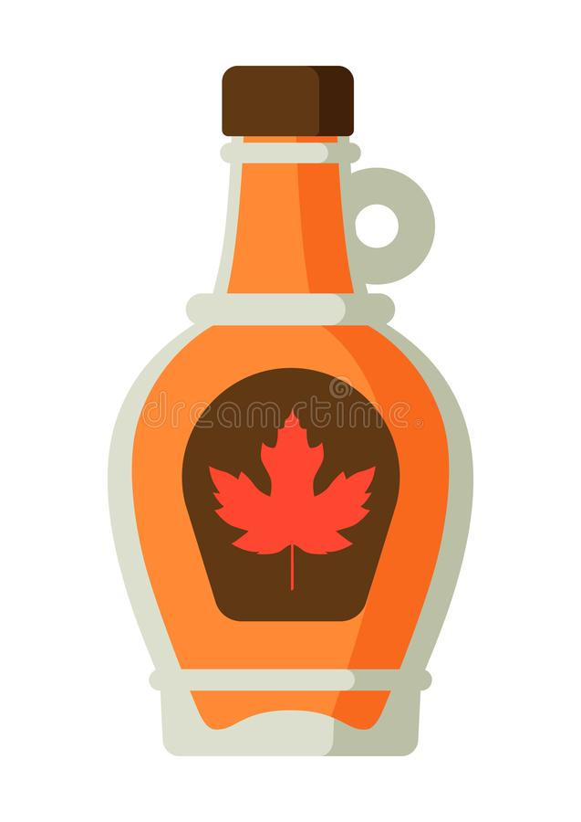 Maple syrup in bottle. Canadian traditional food royalty free illustration