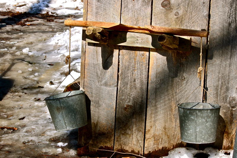 Maple syrup bucket yoke stock image of pioneer