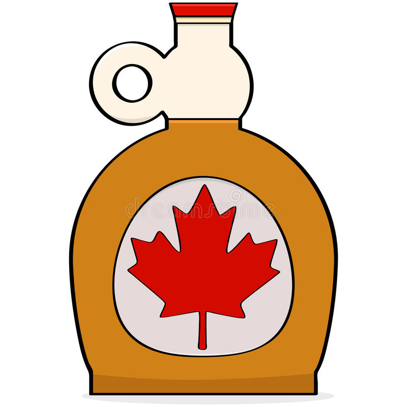 Maple syrup. Cartoon illustration showing a bottle of Canadian maple syrup stock illustration