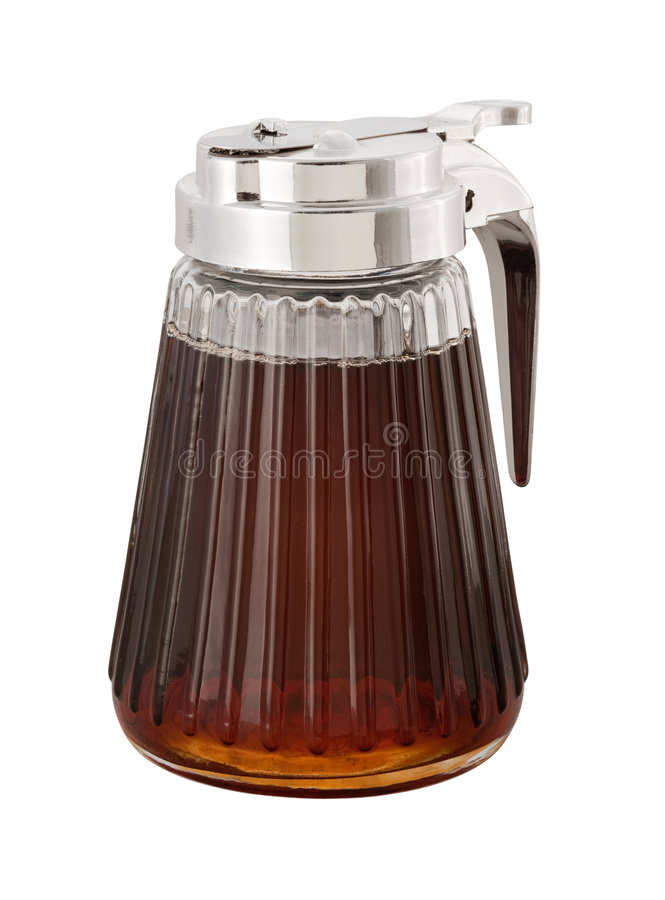Maple Syrup (with clipping path). Maple Syrup and dispenser isolated with a clipping path. Isolation is on a transparent layer in the PNG format royalty free stock photos