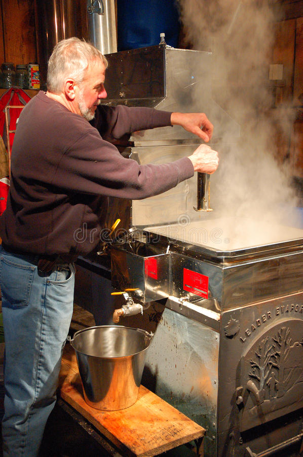 Maple Syrup Evaporation. A male worker commences the evaporation process in the making of pure maple syrup stock photo