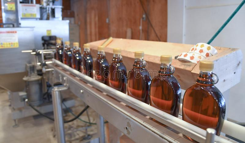 Bottles of fresh maple syrup on the production line at Ben`s Sugar Shack in Temple, N.H., USA, March 24, 2018. royalty free stock photo