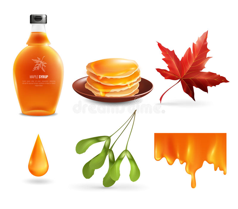 Maple Syrup Set. With product in bottle, droplet, flowing nectar, leaf and seeds, pancakes vector illustration vector illustration