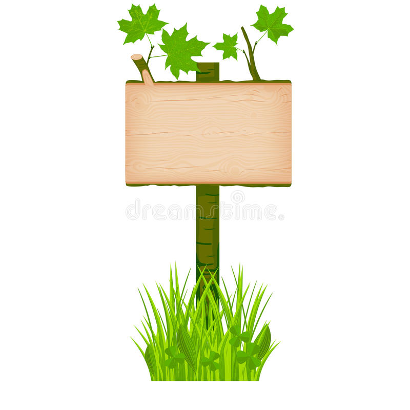 Maple wooden log signboard with green leaves on a pole at the gr vector illustration