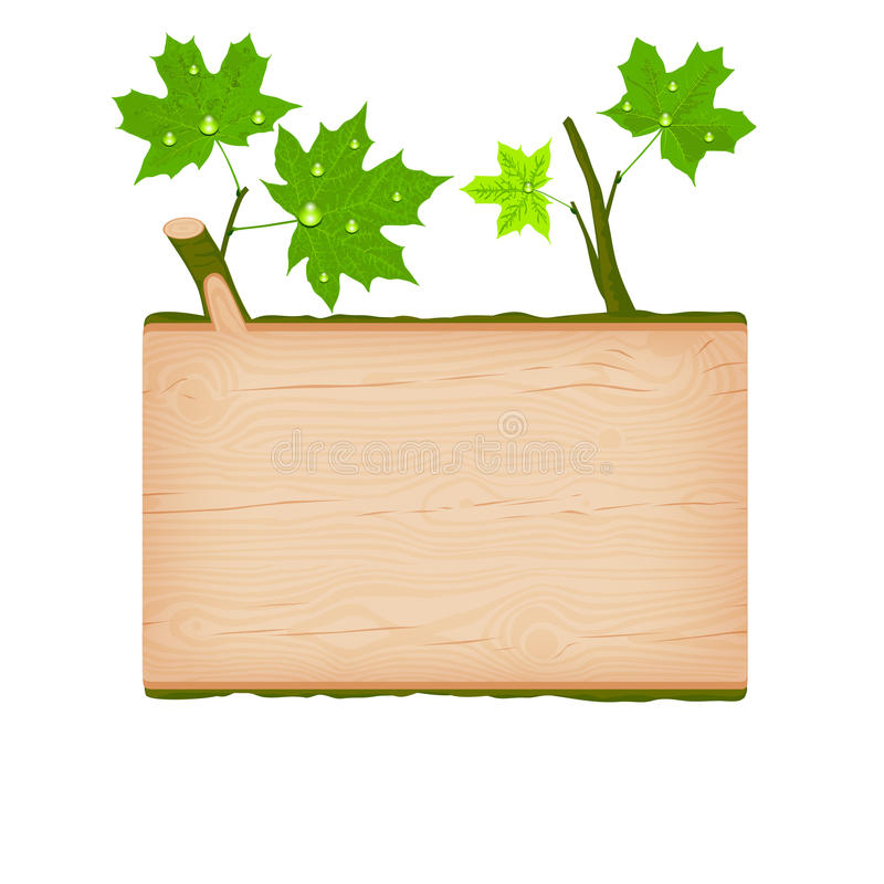 Maple wooden log signboard with green leaves and water drops royalty free illustration