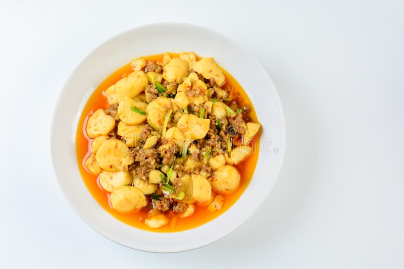 Mapo Tofu, popular Chinese dish. The classic recipe consists of silken tofu, ground pork or beef and Sichuan peppercorn stock images
