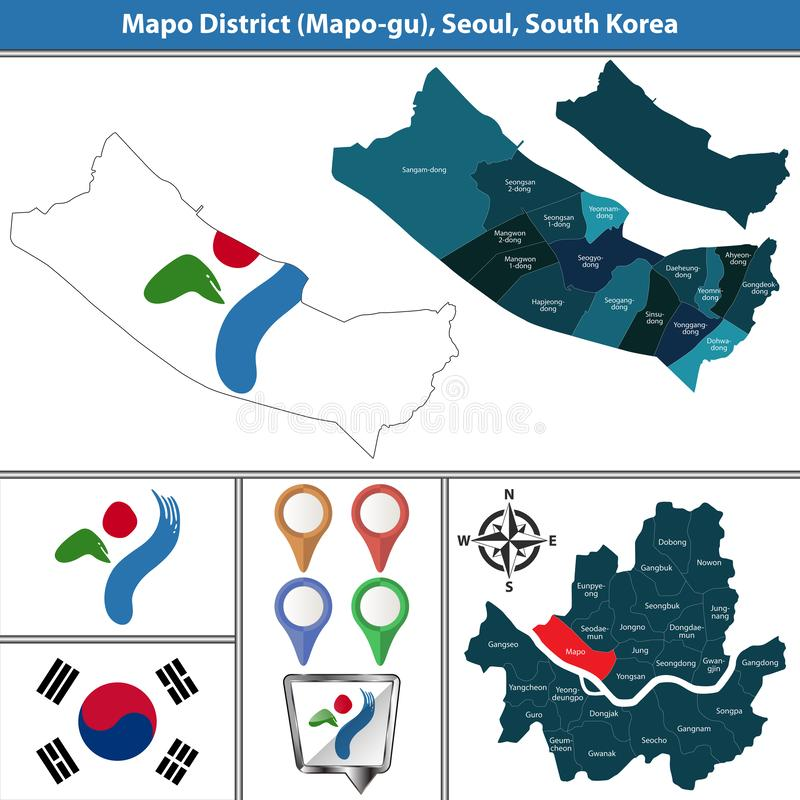 Mapodistrict, de Stad van Seoel, Zuid-Korea stock illustratie