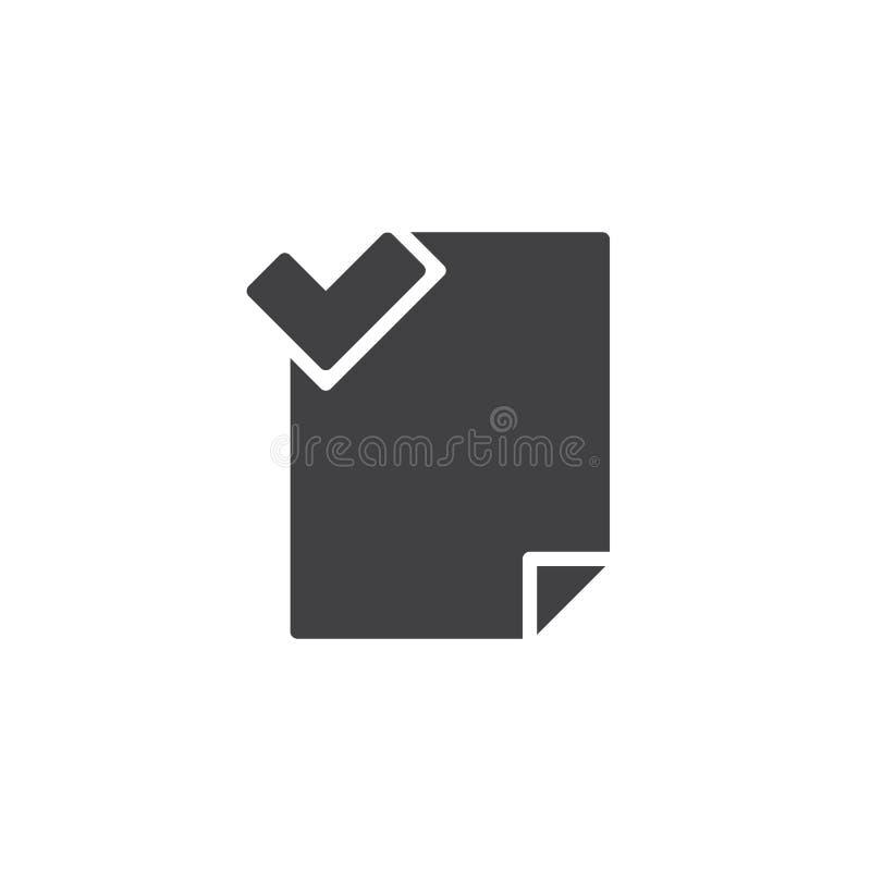 Mapp accepterad vektorsymbol royaltyfri illustrationer