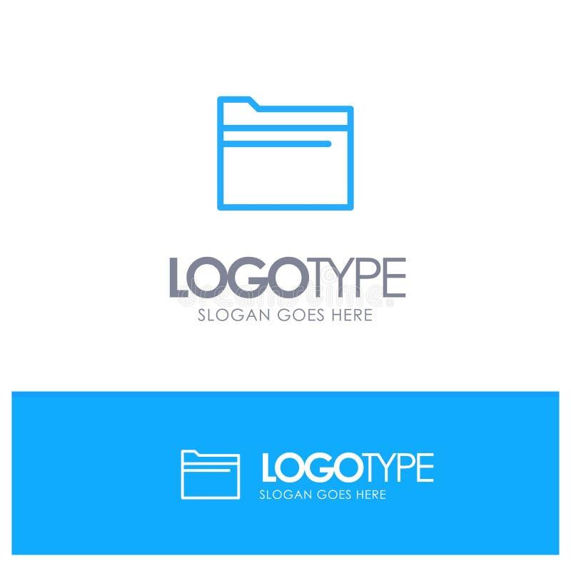 Mapp mapp, data, blå översikt Logo Place för lagring för Tagline royaltyfri illustrationer