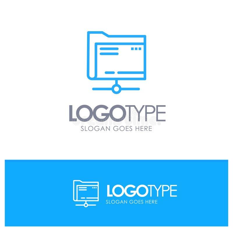 Mapp data, server, lagringsblått Logo Line Style vektor illustrationer