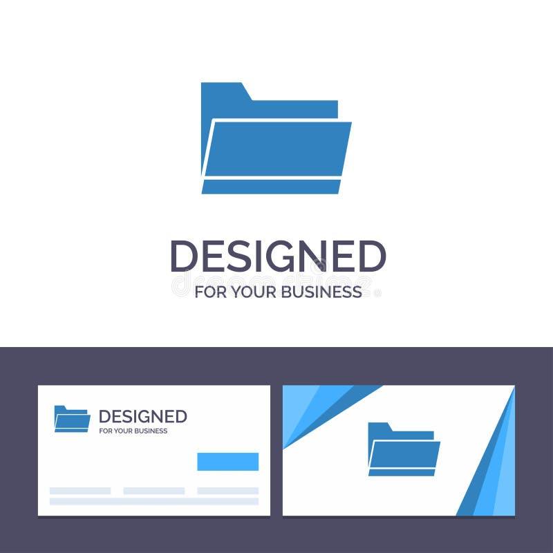 Mapp för idérik mall för affärskort som och logoär öppen, data, lagringsvektorillustration royaltyfri illustrationer