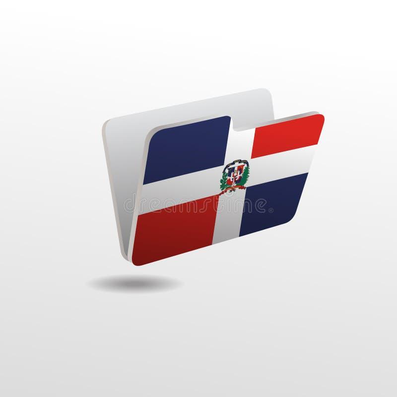 Mapp med bilden av flaggan av DOMINIKANSKA REPUBLIKEN stock illustrationer