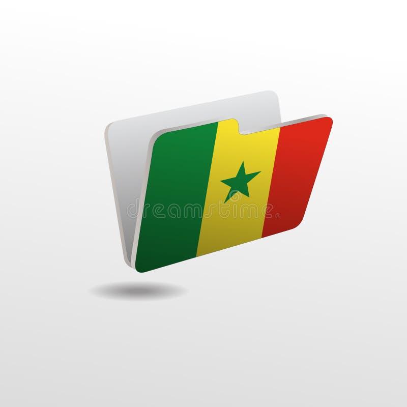 Mapp med bilden av flaggan av SENEGAL royaltyfri illustrationer
