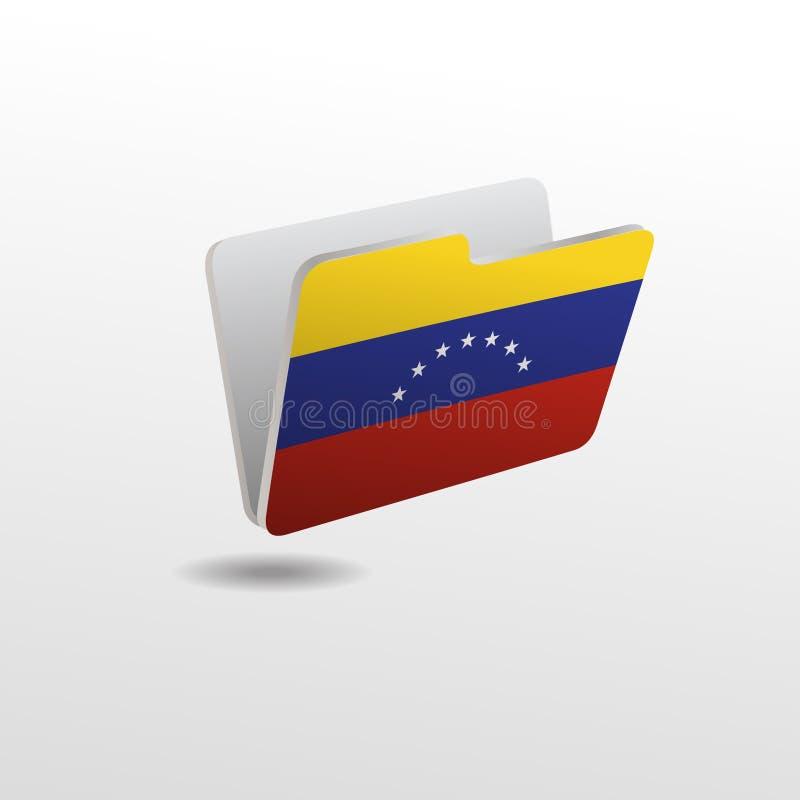 Mapp med bilden av flaggan av VENEZUELA royaltyfri illustrationer