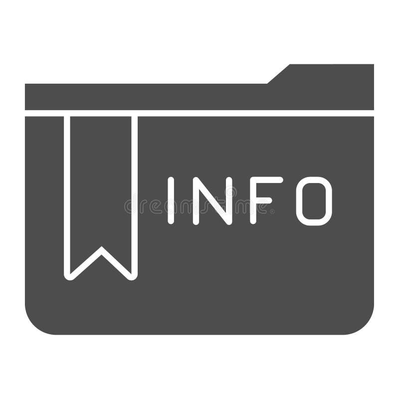 Mapp med den fasta symbolen för information Illustration f?r informationsmappvektor som isoleras p? vit Stil f?r datormappsk?ra royaltyfri illustrationer