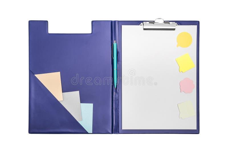 Mapp med ett ark och en penna royaltyfri bild