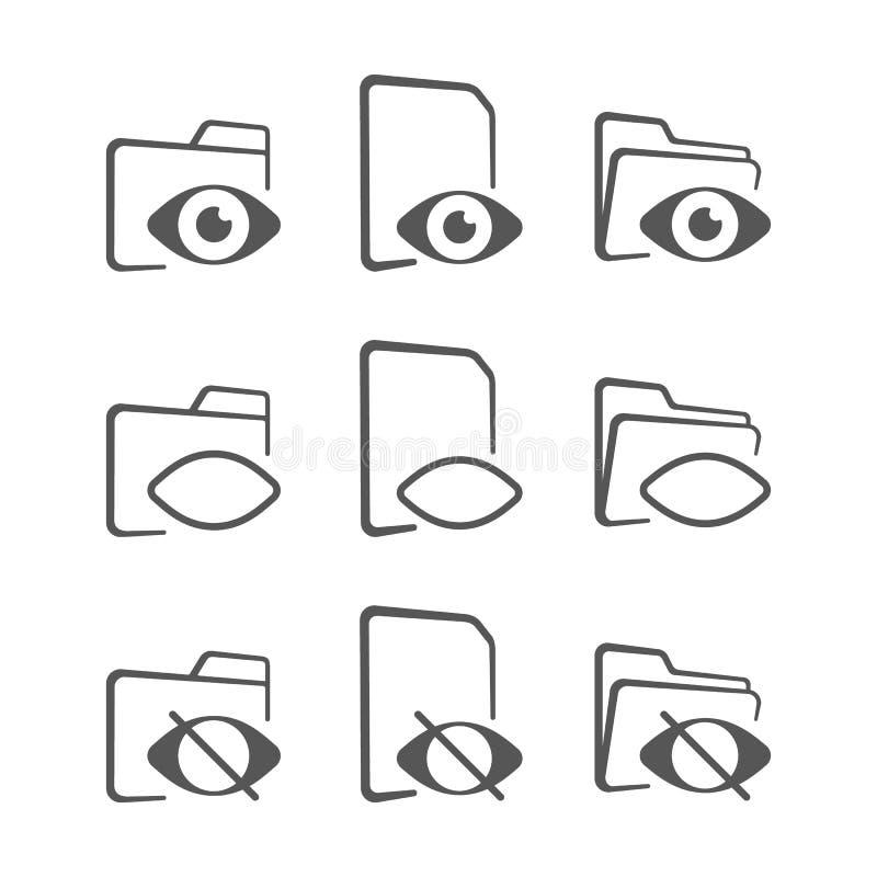 Mapp- och ögonsymbol gömd mapp vektor illustrationer
