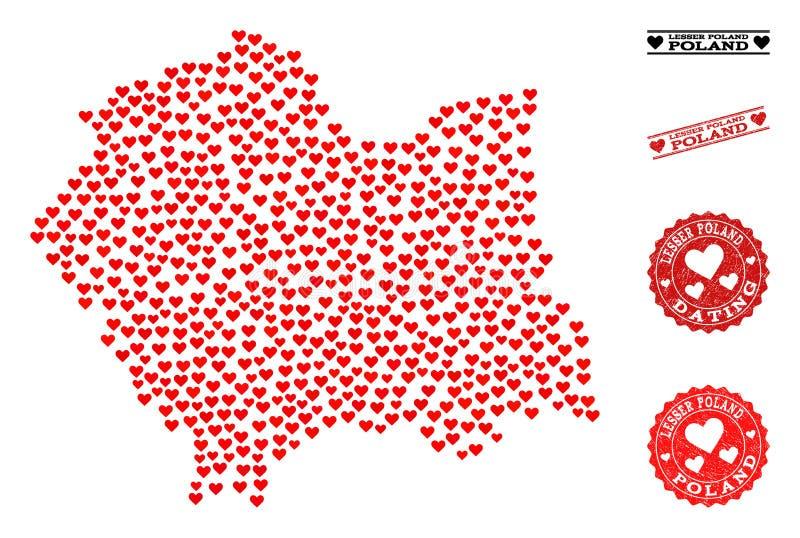 Mappa adorabile del collage di Lesser Poland Province e dei bolli di lerciume per i biglietti di S. Valentino illustrazione di stock