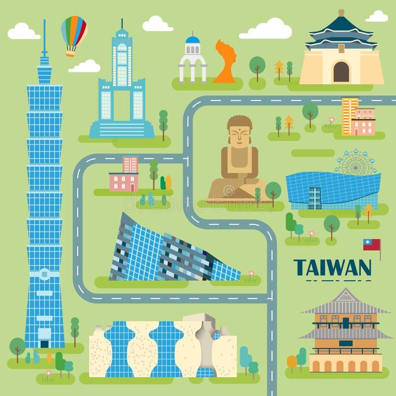 Mappa adorabile di viaggio di Taiwan illustrazione di stock