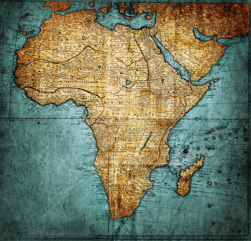 Mappa Africa dell'annata illustrazione di stock