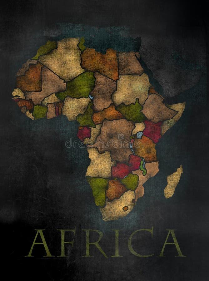 Mappa africana del continente nello stile variopinto della lavagna illustrazione di stock