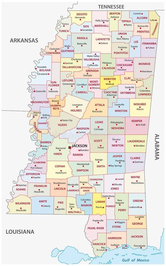 Mappa amministrativa del Mississippi illustrazione di stock