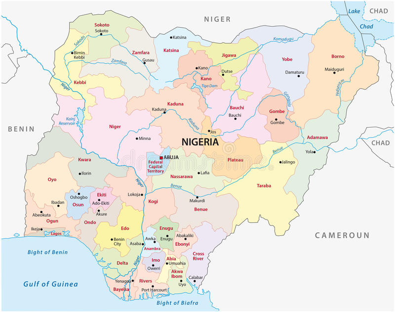 Mappa amministrativa della Nigeria illustrazione di stock