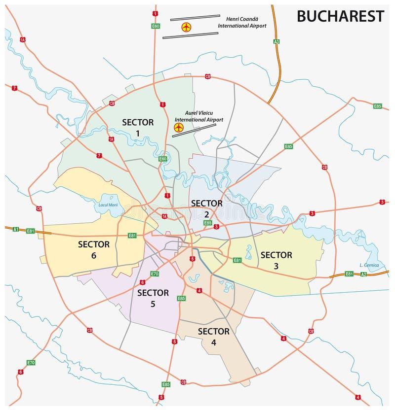Mappa amministrativa della strada della capitale rumena Bucarest illustrazione di stock