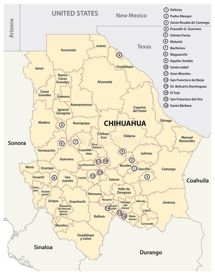 Mappa amministrativa dello stato messicano della chihuahua royalty illustrazione gratis