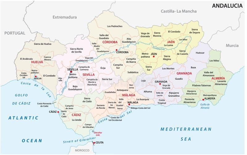 Cartina Andalusia Spagna.Mappa Amministrativa E Politica Dell Andalusia Di Vettore Illustrazione Vettoriale Illustrazione Di Cartographer Illustrazione 116695381