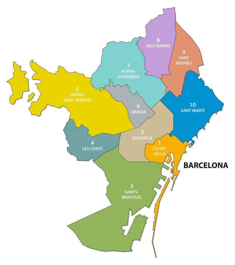 Mappa amministrativa e politica della capitale catalana di Barcellona royalty illustrazione gratis