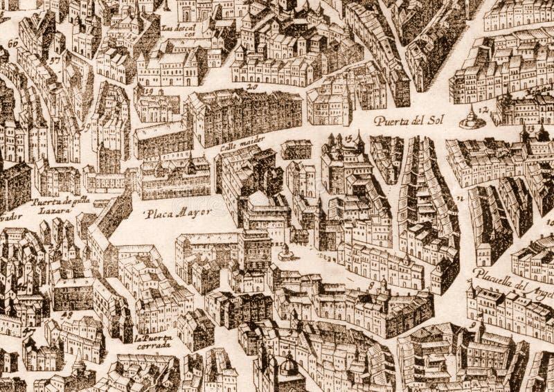 Mappa antica della città di Madrid immagine stock
