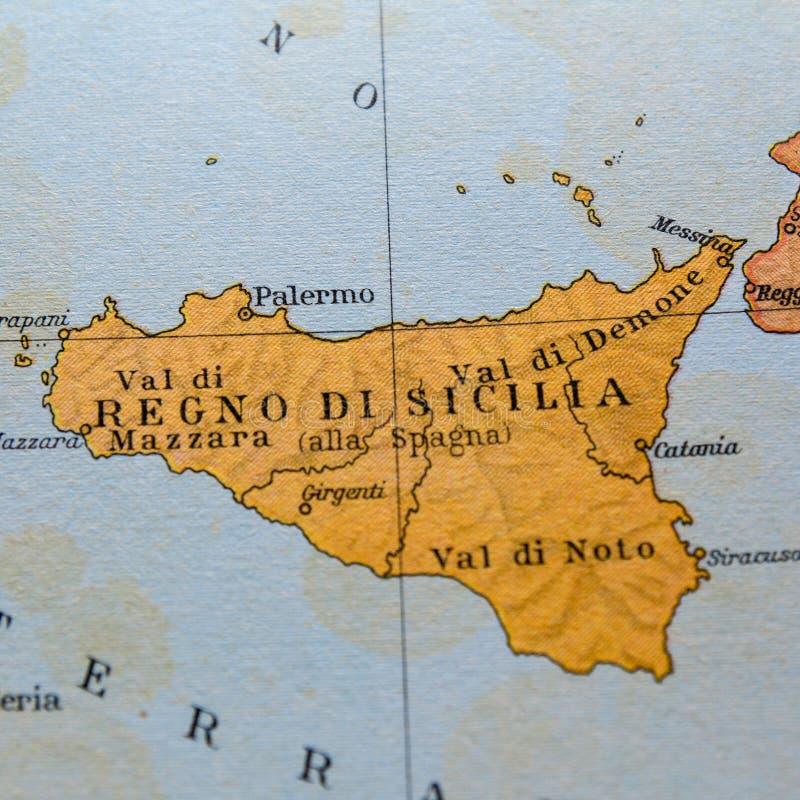 Cartina Sicilia Mondello.Mappa Antica Della Sicilia Fotografia Editoriale Immagine Di Interno 97158126