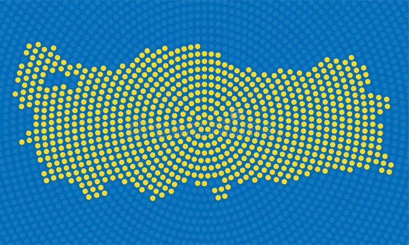 Mappa astratta dei punti radiali, concetto di semitono della Turchia illustrazione vettoriale