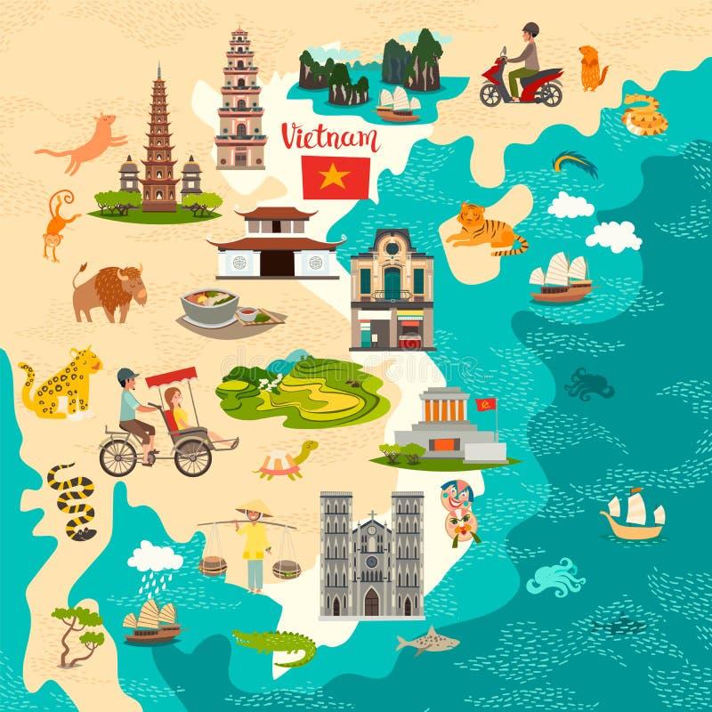 Mappa astratta del Vietnam Manifesto variopinto di vettore Vecchie icone del risciò e della nave royalty illustrazione gratis