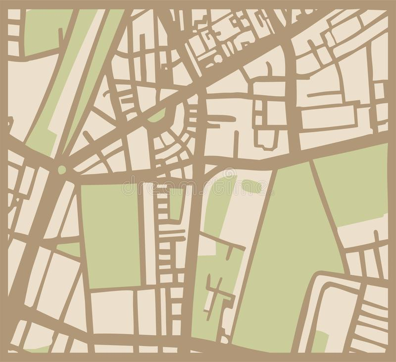 Mappa astratta della città con le vie, le costruzioni ed il parco illustrazione di stock